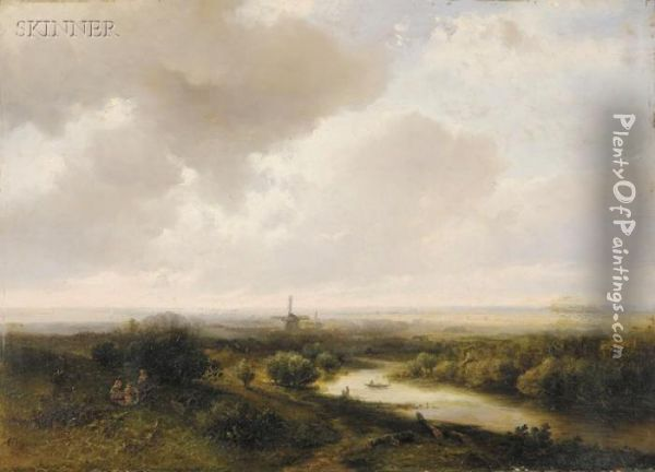 A Picnic Overlooking The River Oil Painting - Pieter Lodewijk Francisco Kluyver