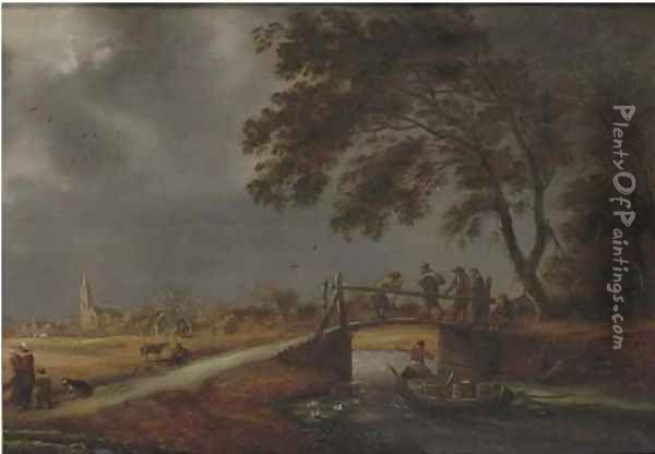 A stormy landscape with travellers on a bridge, a boat passing by and a woman with children on a path, a village beyond Oil Painting - Pieter Molijn