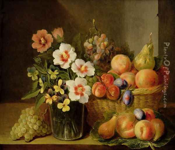 Still life of flowers in a vase and fruit in a basket Oil Painting - Pieter Snyers
