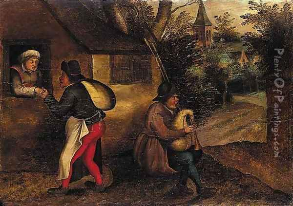 A peasant paying court to a woman, with a bagpipe player in a village Oil Painting - Pieter The Younger Brueghel