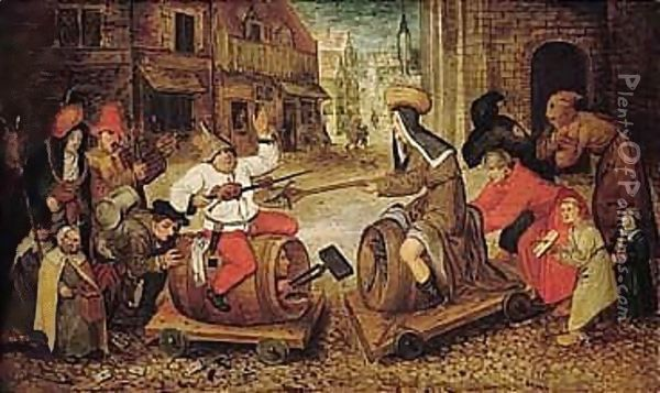 The Battle Between Carnival And Lent Oil Painting - Pieter The Younger Brueghel