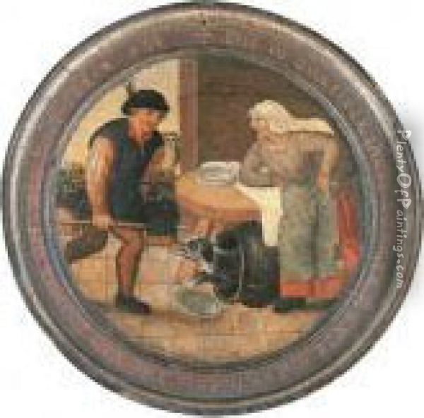 'to Find The Dog In The Pot' - A Flemish Proverb Oil Painting - Pieter The Younger Brueghel