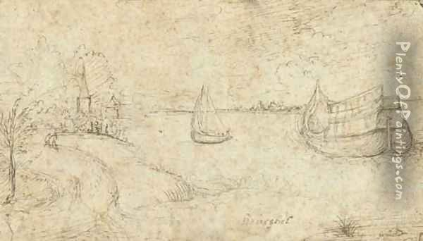 Two ships on a broad estuary, figures on a path in the left foreground Oil Painting - Pieter the Elder Bruegel
