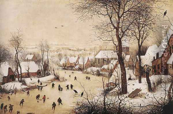 Winter Landscape with Skaters and Bird Trap 1565 Oil Painting - Pieter the Elder Bruegel