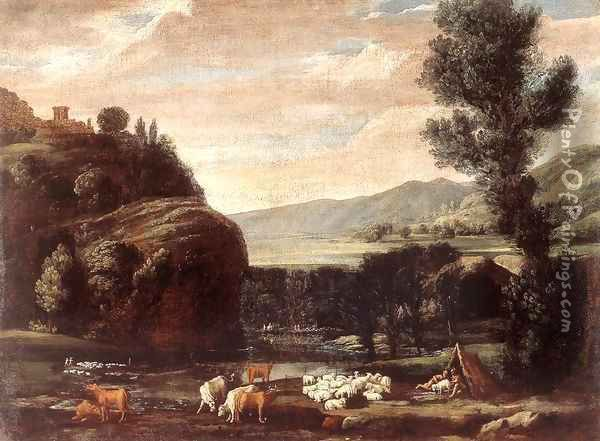 Landscape with Shepherds and Sheep 2 Oil Painting - Pietro Paolo Bonzi