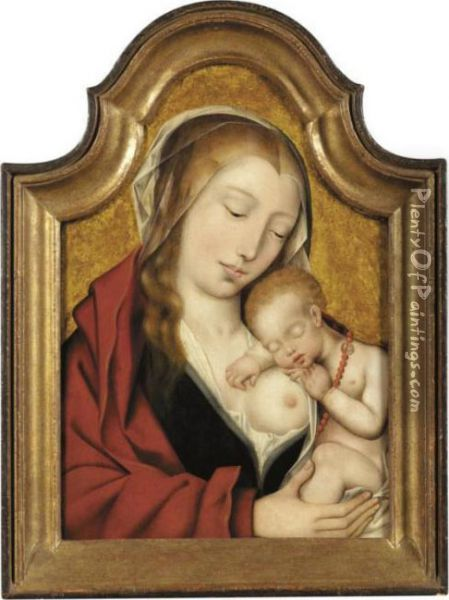 Virgin With The Sleeping Christ Child Oil Painting - Quinten Metsys