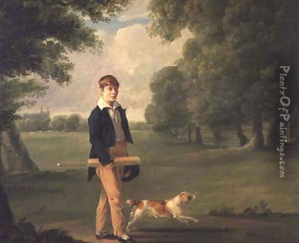 Young Man with a Cricket Bat Walking a Spaniel in the Grounds of Eton College Oil Painting - Ramsay Richard Reinagle