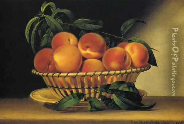 Bowl of Peaches 1816 Oil Painting - Raphaelle Peale