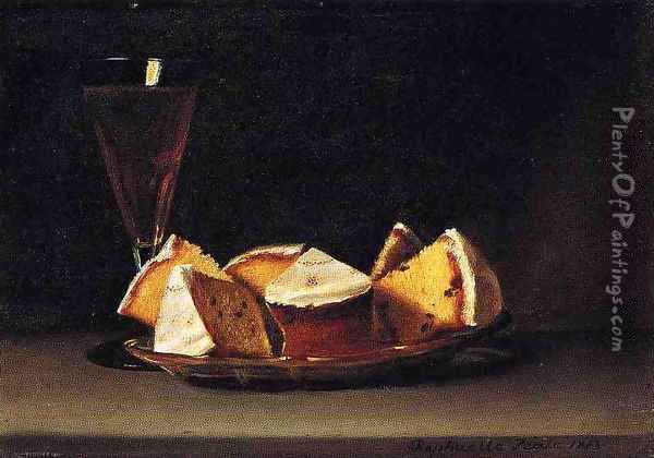 Cake and Wine Oil Painting - Raphaelle Peale