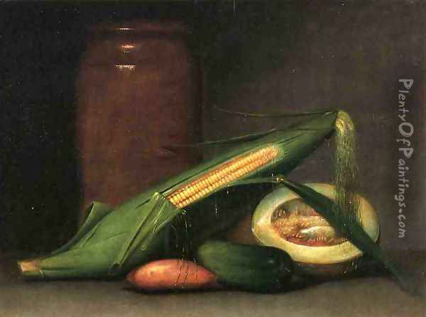 Corn and Canteloupe Oil Painting - Raphaelle Peale