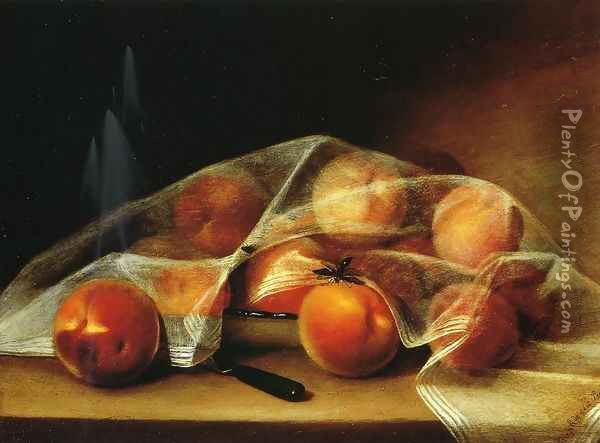 Fruit Piece with Peaches Covered by a Handkerchief Oil Painting - Raphaelle Peale