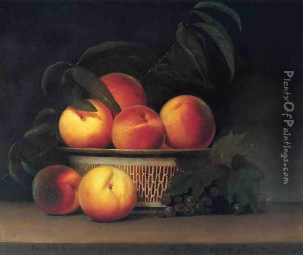 Peaches and Unripe Grapes Oil Painting - Raphaelle Peale