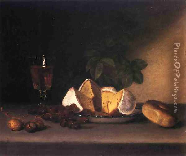 Still Life: Wine, Cakes and Nuts Oil Painting - Raphaelle Peale