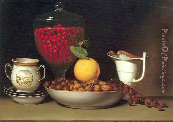 Still Life- Strawberries and Nuts 1822 Oil Painting - Raphaelle Peale