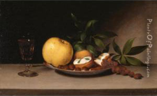 Still Life With Fruit, Cakes And Wine Oil Painting - Raphaelle Peale