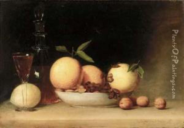 Still Life With Liqueur And Fruit Oil Painting - Raphaelle Peale