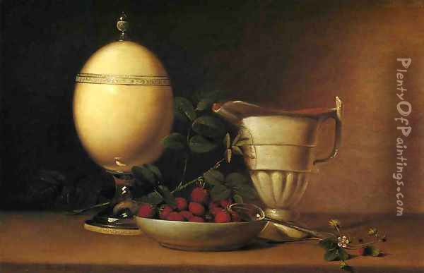 Still Life with Strawberries and Ostrich Egg Cup Oil Painting - Raphaelle Peale