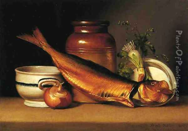 Still Liife with Dried Fish Oil Painting - Raphaelle Peale