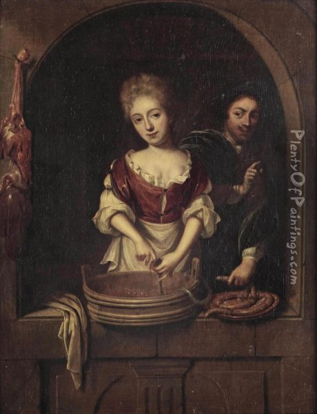 A Maid Preparing Sausages With A Young Man Oil Painting - Regnier de La Haye