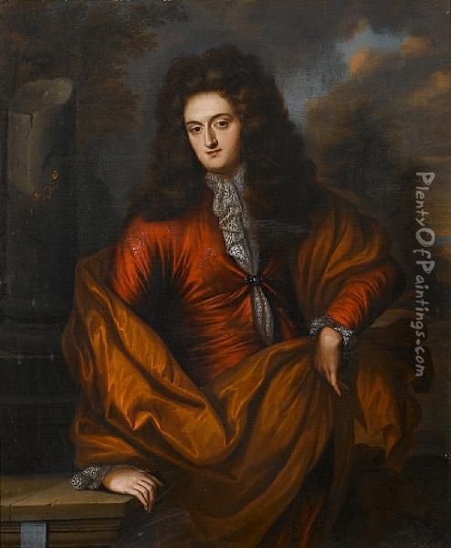 Portrait Of A Gentleman, Three-quarter-length,in A Russet Coat With A Brown Wrap Standing Before A Stonecolumn Oil Painting - Regnier de La Haye