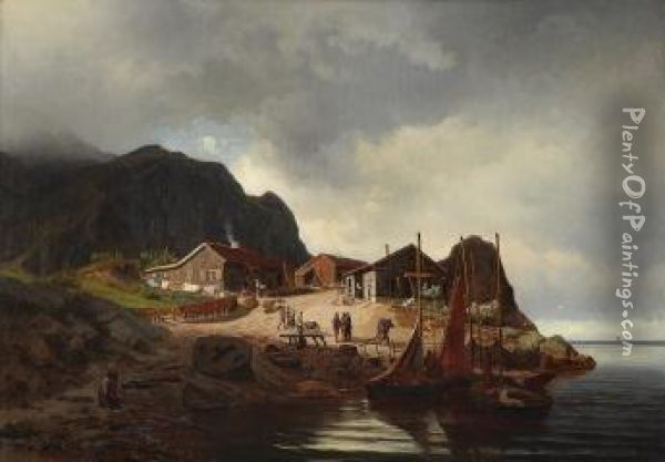 Coastal Landscape With Figures 1855 Oil Painting - Reinholdt Boll