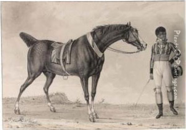 A Horse And His Creole Jockey Oil Painting - Reinier Vinkeles