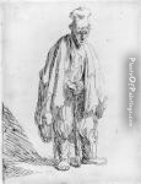 A Beggar In A High Cap, Standing And Leaning On A Stick Oil Painting - Rembrandt Van Rijn