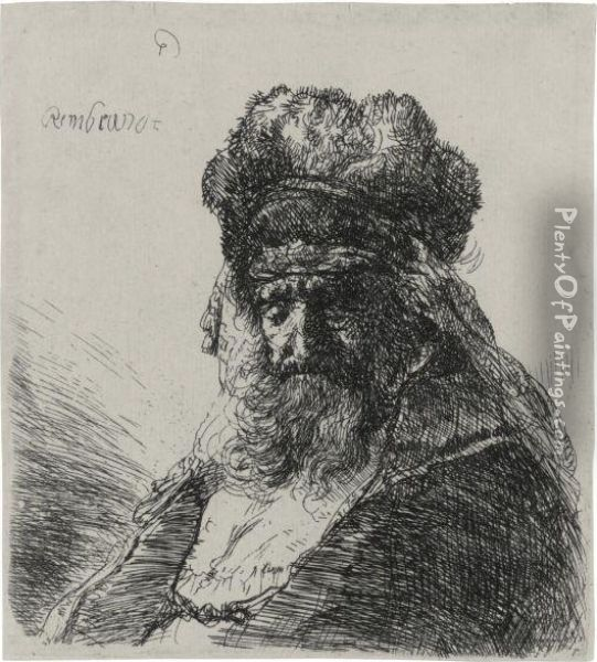 An Old Bearded Man In A High Fur Cap, With Eyes Closed Oil Painting - Rembrandt Van Rijn