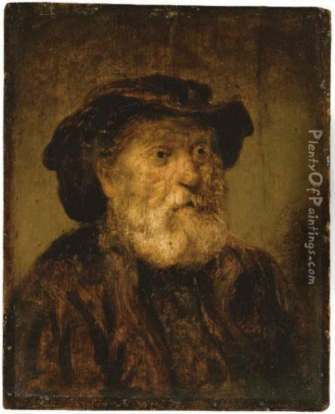 An Old Man In A Hat Oil Painting - Rembrandt Van Rijn