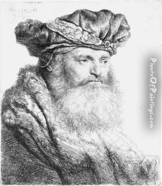 Bearded Man In A Velvet Cap With A Jewel Clasp Oil Painting - Rembrandt Van Rijn