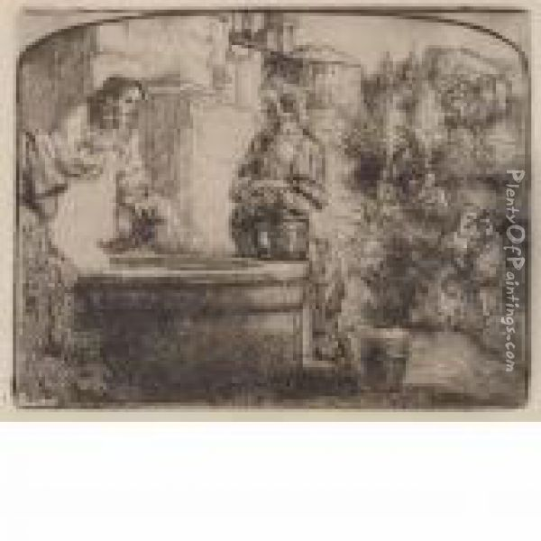 Christ And The Woman Of Samaria Oil Painting - Rembrandt Van Rijn