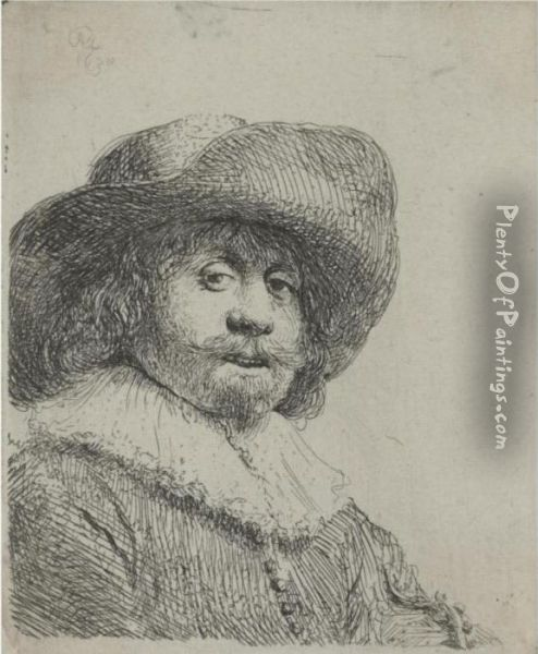 Man In A Broad-brimmed Hat (b., Holl. 311; H. 158; Bb.38-c) Oil Painting - Rembrandt Van Rijn
