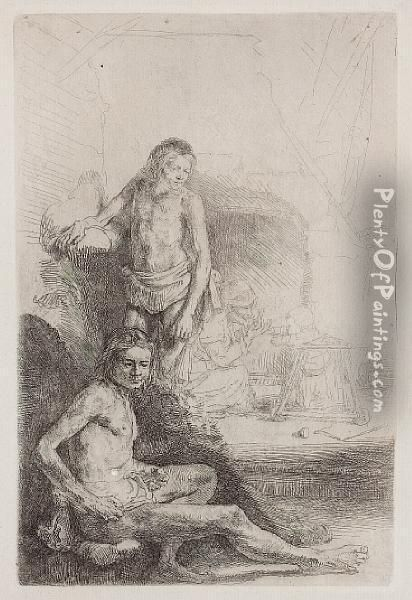 Nude Man Seated And Another Standing With Awoman And A Baby Oil Painting - Rembrandt Van Rijn