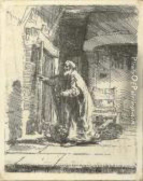 The Blindness Of Tobit: The Larger Plate Oil Painting - Rembrandt Van Rijn