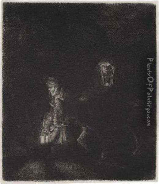 The Flight Into Egypt: A Night Piece (b., Holl.53; H.253; Bb.51-e) Oil Painting - Rembrandt Van Rijn