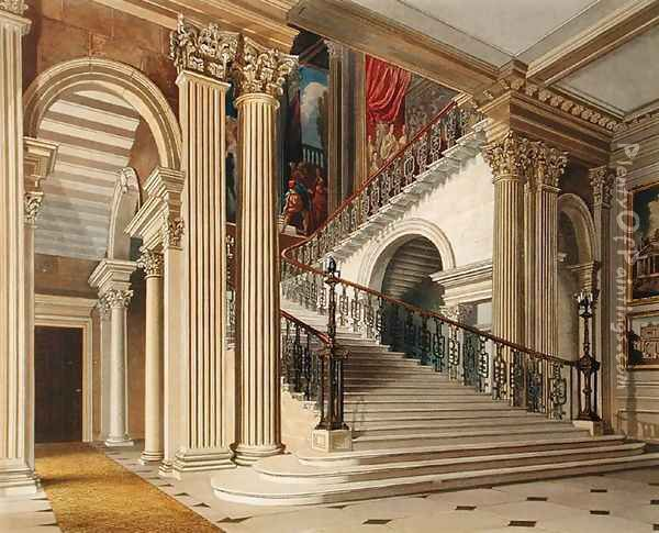 Stair Case, Buckingham House, from 'The History of the Royal Residences' Oil Painting - Richard Cattermole