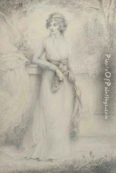 Portrait of a lady, small full-length, standing before a balustrade Oil Painting - Richard Cosway