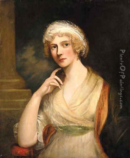 Portrait of lady, half-length, in a white dress and red shawl Oil Painting - Richard Cosway
