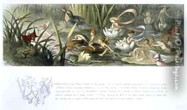 Water Lilies and Water Fairies Oil Painting - Richard Doyle