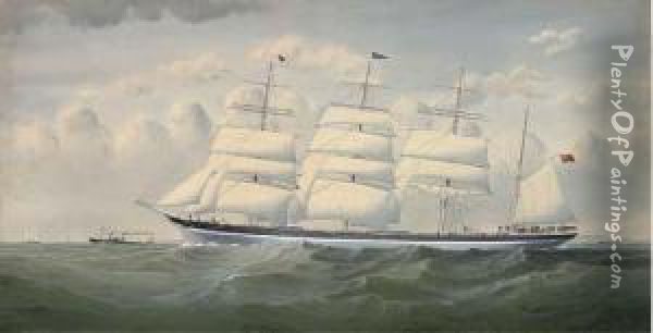 The Four-masted Barque  Sindia   Under Shortened Sail In The Channel Oil Painting - Richard Henry Neville-Cumming