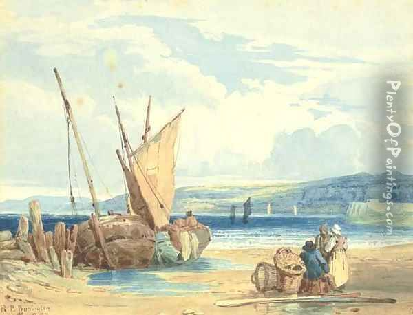 A coastal landscape at low tide with fisherfolk and beached vessels Oil Painting - Richard Parkes Bonington
