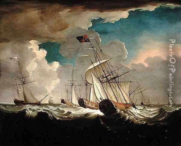 The Royal Charlotte Returning to England with Princess Charlotte of Mecklenburg-Strelitz Oil Painting - Richard Wright