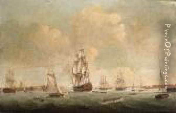 A 74-gun Third Rate Heading Out  Of Portsmouth Harbour With Other Ships Of The Fleet Close-by Oil Painting - Robert Dodd