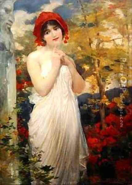 Girl with Poppies Oil Painting - Robert Fowler