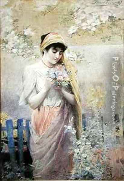 Study of a girl with a bouquet of flowers in a garden Oil Painting - Robert Fowler