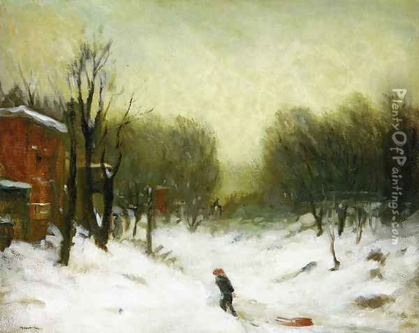 Seventh Avenue In The Snow Oil Painting - Robert Henri