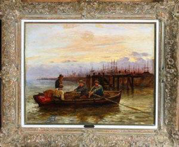Four Fishermen In A Rowing Boat At Dusk Oil Painting - Robert Jobling