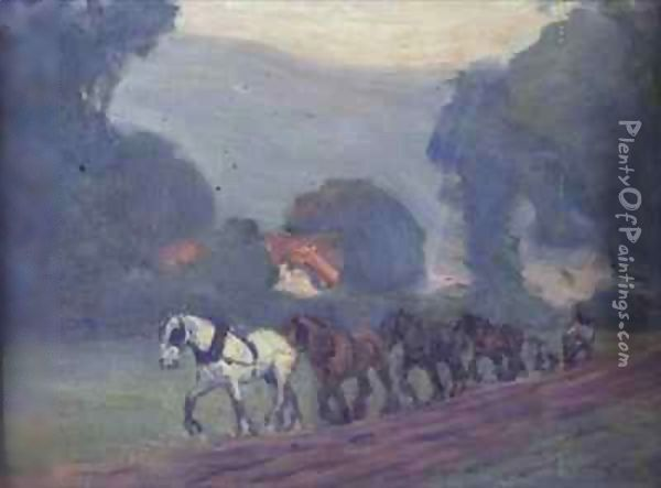 The Four Horse Team Oil Painting - Robert Polhill Bevan
