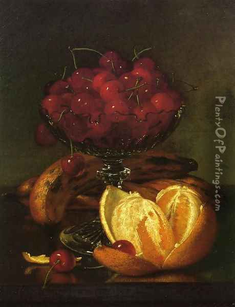 Still Liife of Compote, Cherries, Three Bananas and Orange Oil Painting - Robert Spear Dunning