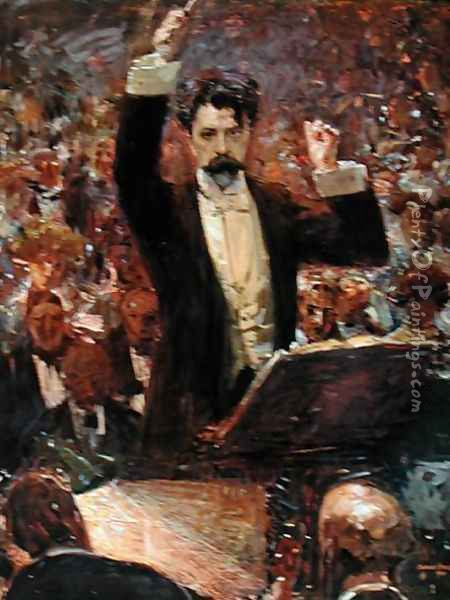 Arthur Nikisch 1855-1922 Conducting a Concert at the Gewandhaus in Leipzig, 1910 Oil Painting - Robert Sterl